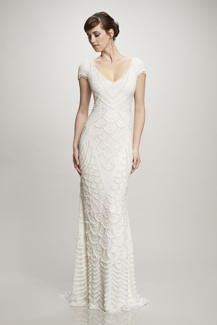 Theia Serena: Hand-beaded cap-sleeve pearl gown