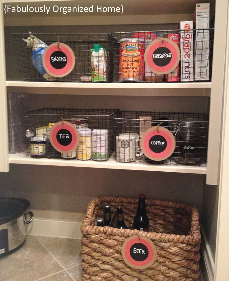 I like the idea of the baskets to group like items together.  FABULOUSLY ORGANIZE YOUR PANTRY | Fabulously Organized Home