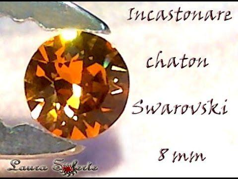 Tutorial come incastonare un cristallo chaton da 8 mm con perline e cris...