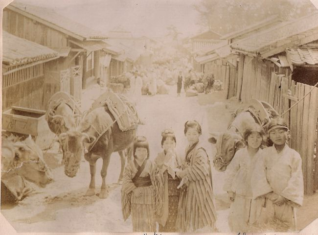 Busan: Japanese and Korean children in the streets of Busan circa 1890-1905