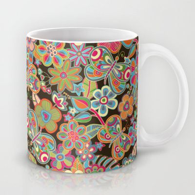my butterflies and my flowers Mug by Juliagrifol designs - $15.00 mug#design#pattern##ceramic#kitchen#flowers#society6