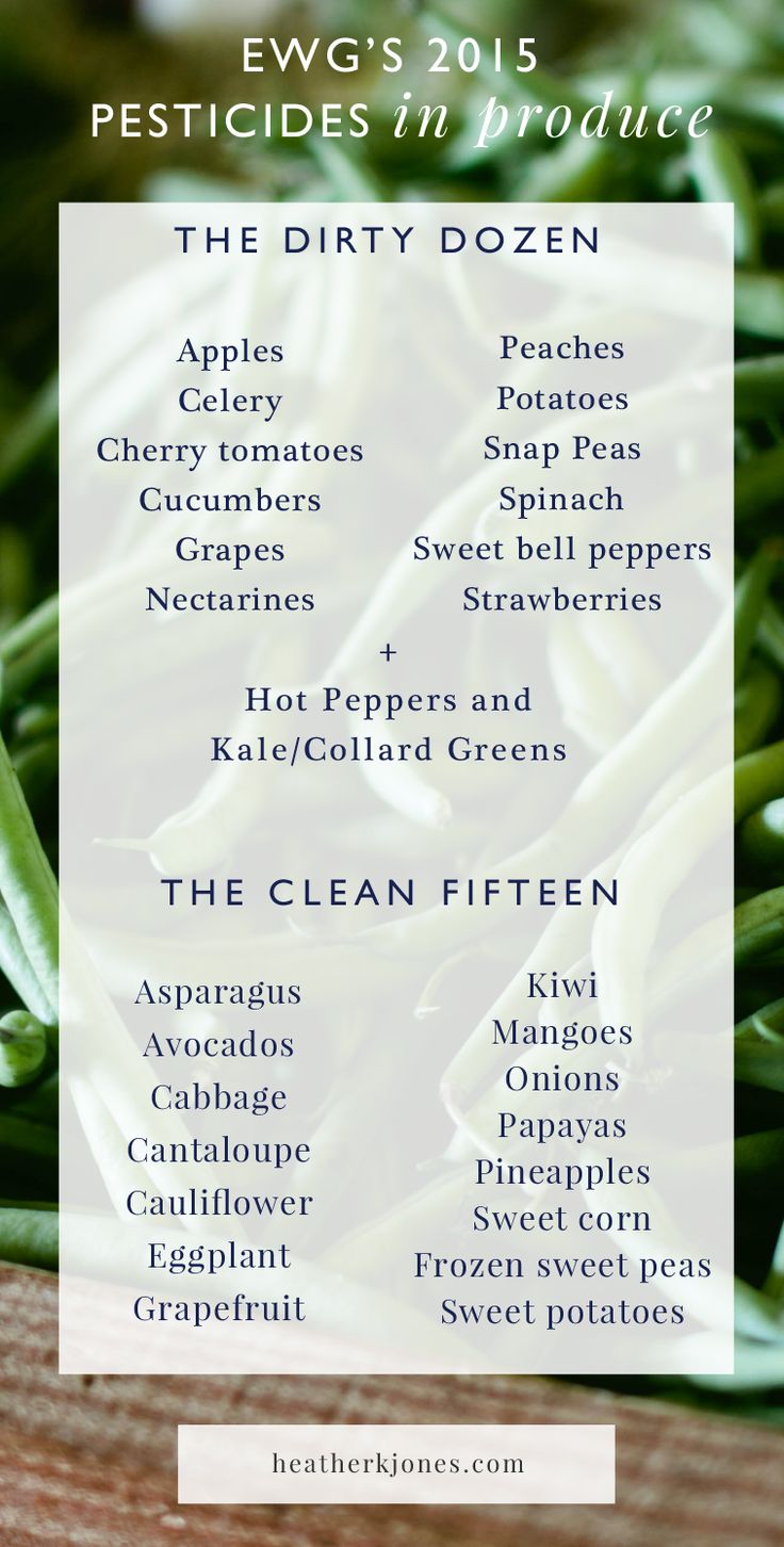 The Environmental Working Group's Shopper's Guide to Pesticides identifies fruits and vegetables that have the highest (The Dirty Dozen) and lowest (The Clean Fifteen) pesticide residues. Switching to organic produce for the foods listed on The Dirty Dozen list can reduce the amount of toxins you consume on a daily basis by as much as 80% (80%, WOW!).