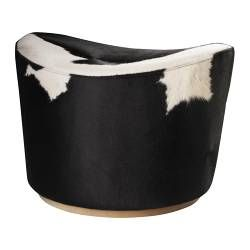IKEA - STOCKHOLM, Footstool, Swivel function.Each footstool has its own unique pattern due to natural variations in the cowhide.The cover is easy to keep clean as it can be wiped clean with a damp cloth.You can use it as an extra seat for guests or as a footstool.