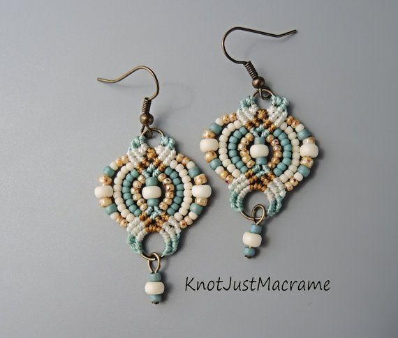 Micro macrame earrings by Sherri Stokey of Knot Just Macrame. tips on finishing the piece neatly using a ring