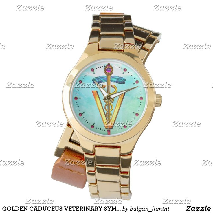 GOLDEN CADUCEUS VETERINARY SYMBOL Aqua Blue Green Wristwatch  #vet #medical #veterinarian #medicine #animaldoctor