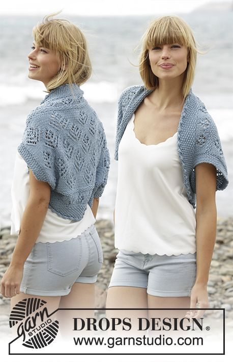 "Beach Bolero / DROPS 168-10 - Knitted DROPS shoulder piece with lace pattern and moss st in ""Big Merino"". Size S-XXXL."
