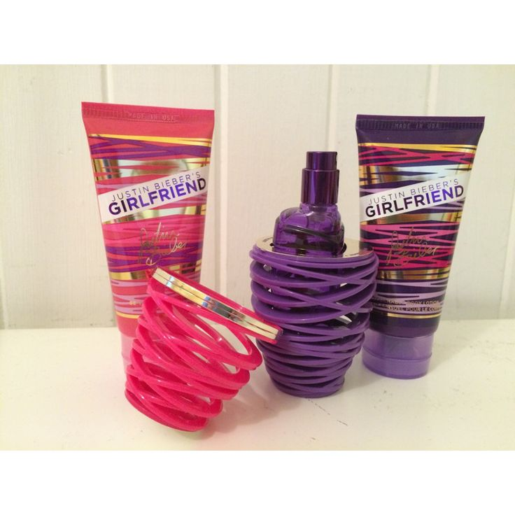 Justin Biebers fragrance Girlfriend, body wash and shower gel! Perfect and $40-$60