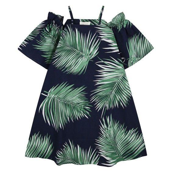 Chiffon Dress With Tropical Print