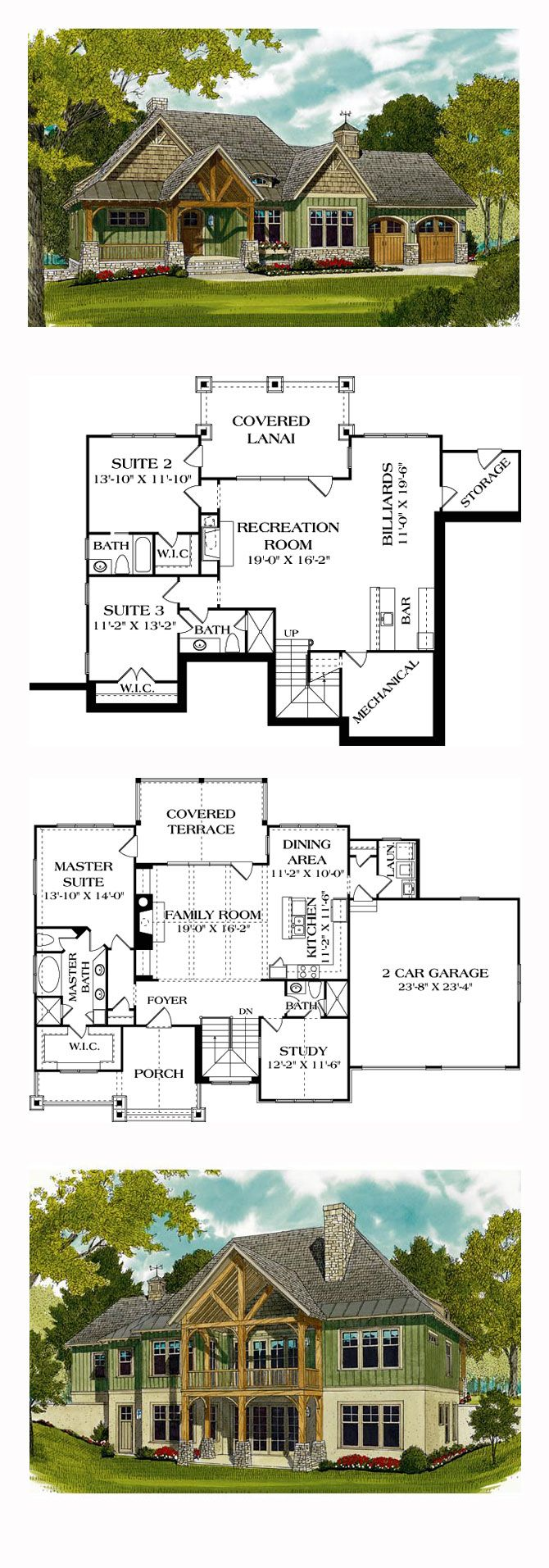 Hillside House Plan 97044 | Total Living Area: 2764 sq. ft., 3 bedrooms and 4 bathrooms. #hillsidehouse