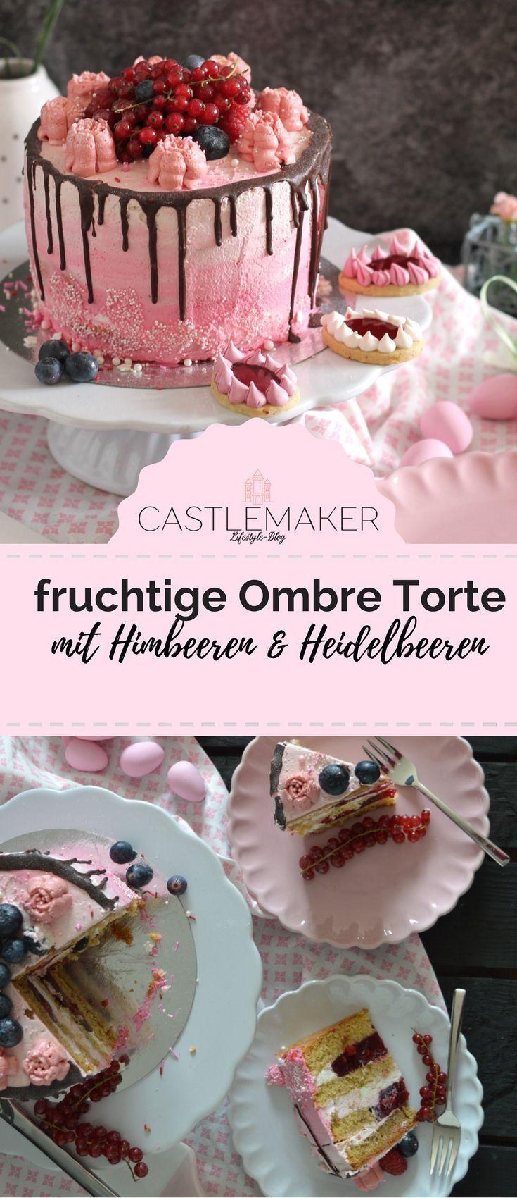 Fruchtige Torte im Ombre-Look mit Himbeeren & Heidelbeeren // Drip Cake