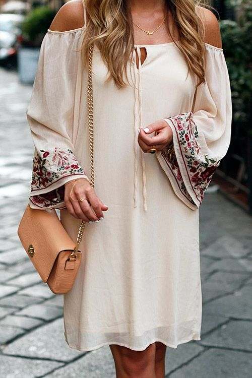 Embroidered Apricot Long Sleeve Off The Shoulder Dress
