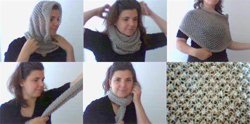sticka en huva en sjal en poncho