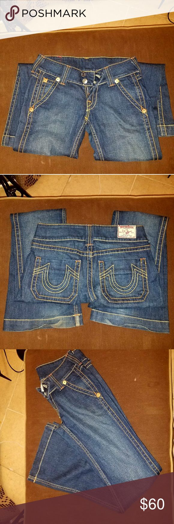 True Religion Sammy Big T Trouser sz 28 Like new True Religion Sammy Big T Trouser style jeans!! They are super cute just can't fit anymore :(  sz 28  open to all Reasonable offers..   Ive been wearing Trues for 12 years. So you don't have to worry if your getting the real deal.. also check my reviews True Religion Jeans Flare & Wide Leg
