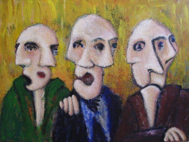Penge blandt venner, 2010. 120cm x 90cm, akryl på lærred. Indrammet maleri af Rune Frederiksen, bud starter ved kr.: 1500,- sælges på auktion gennem Lauritz.com