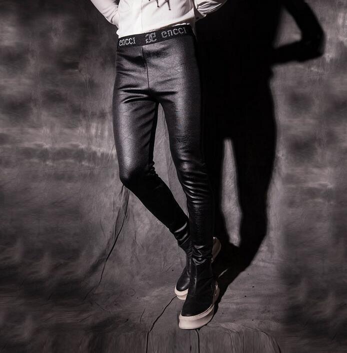 Winter mens slim leather pants male personality plus velvet thickening basic skinny pants men trousers black pantalon homme