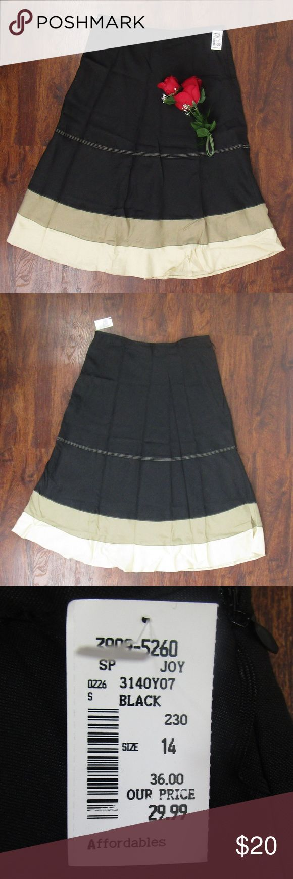 NWT Appraisal Black Tan Maxi Skirt Size 14 This beautiful skirt is new with tags! As always offers and bundles are welcome. Feel free to add one or more items to a bundle for a private discount offer!!!  Waist is 16.75 inches across Hips are 23 inches across Length is 31.5 inches Appraisal Skirts Maxi