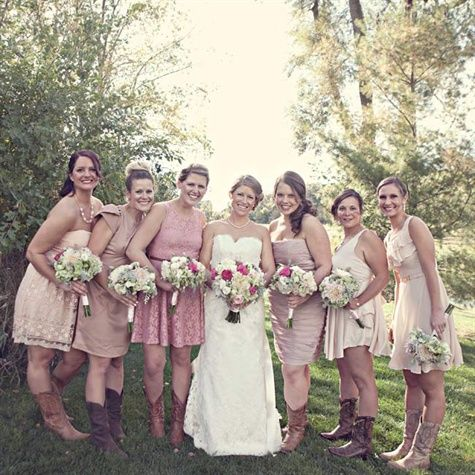 Blush Bridesmaid Dresses, not matching, but in same color scheme