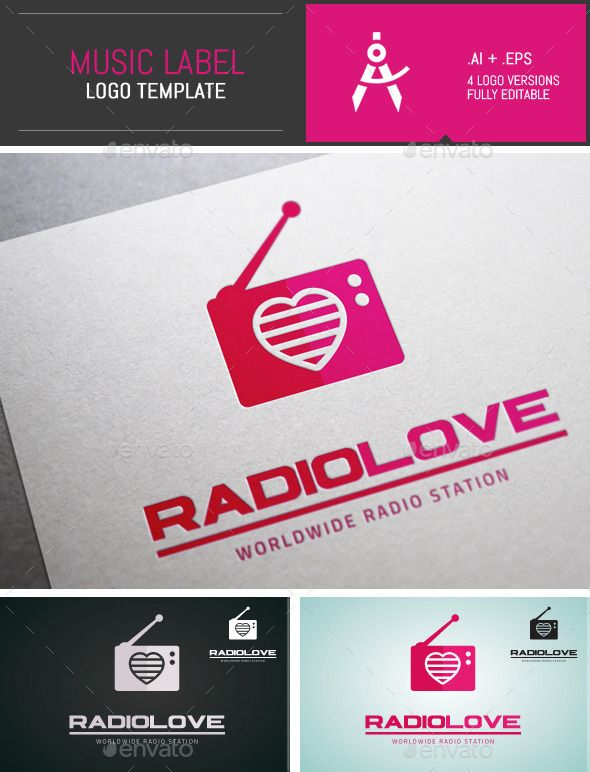 This product contains a professional Minimal Radio Love Vector Logo Template for radio stations, in 4 different colors. This vecto