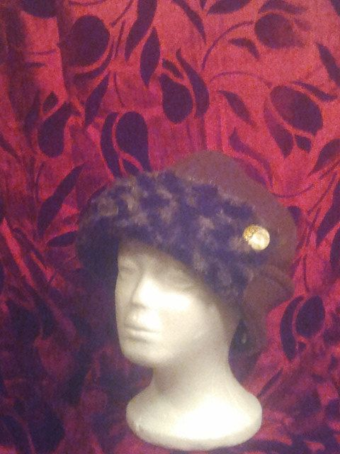 1930 style motering cloche fleece hat with fur by tinashatsandmore