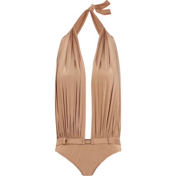 Melissa Odabash Peru swimsuit (490 RON) ❤ liked on Polyvore featuring swimwear, one-piece swimsuits, swimsuits, bikinis, swim, tops, light brown, plunge one piece swimsuits, halter bikini and halter top