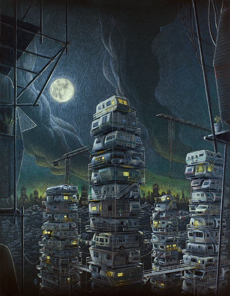 Stacks from Ready Player One. Illustration by Gustavo Sanabria, 2016.  Based on the book Ready Player One, by Ernest Cline. Pastel on paper, 50x65cm.