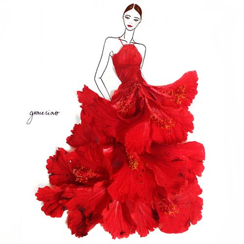 Red Hibiscus gown, Grace Ciao illustration