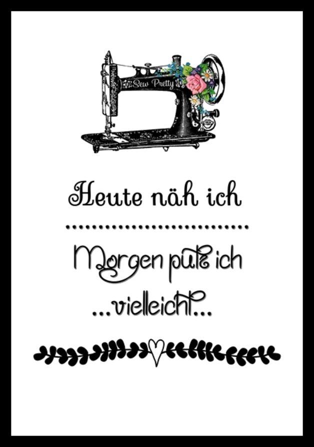 """Digitaldruck - """"Heute näh ich"""" Kunstdruck - ein Designerstück von MilaLu-Prints bei DaWanda"""