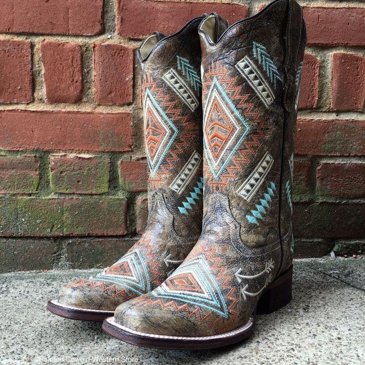 Corral Women's Multicolored Diamond Aztec Embroidered Sq Toe Cowgirl Boots E1084