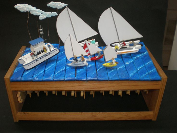 """21""""H x 30'W x 14"""" D  1-1/2"""" characters  Features all the boats one family has owned and raced . The waves have a rolling motion that rocks all the boats"""