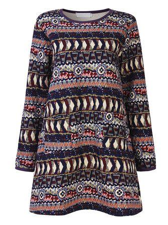 Vintage Winter Printing Long Sleeve Loose Sweatshirt Dress at Banggood