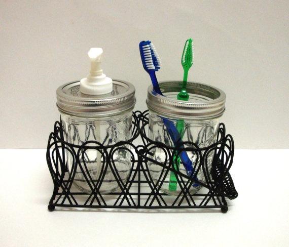 Mason Jar Soap or Lotion Dispenser and Toothbrush Holder Set Bath Caddy