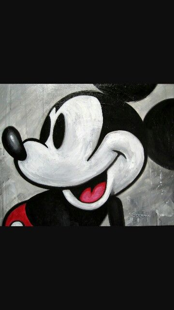 Mickey Mouse painting. Black white and Red. Love it!