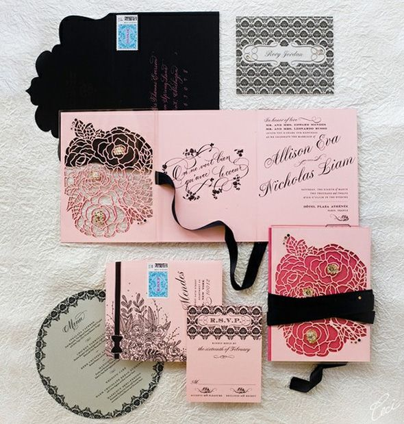 I don't know how this design is so over the top without being gaudy - I think it's just too fabulous, especially with the dramatic black envelope w/ contrasting pink writing and the die-cut is splendid.Laser Cut Invitations, Die Cut, Luxury Wedding, Black Wedding, Wedding Invitations, Invitations Suits, New York, Cut Out, Pink Peonies