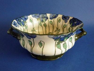 Royal Doulton Art Nouveau Blue 'Poppies B' Series Ware Bowl D3226 c1910