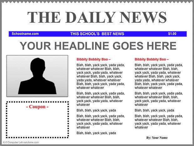 iPad News Template blue (using Keynote): http://oakdome.com/k5/lesson-plans/iPad-lessons/ipad-keynote-newspaper-template.php