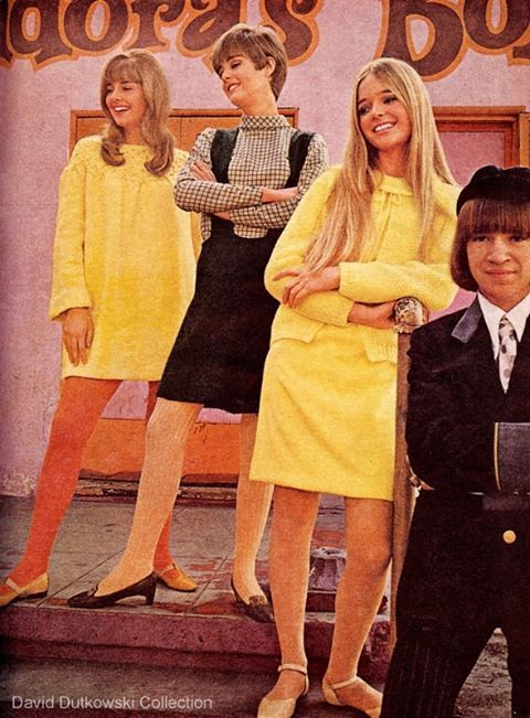 1960's pic of Los Angeles radio personality, Rodney Bingenheimer, in a groovy fashion spread in front of Pandora's Box - the center of the Sunset Strip youth scene located at Crescent Heights and Sunset Blvd. Teen Magazine 1967