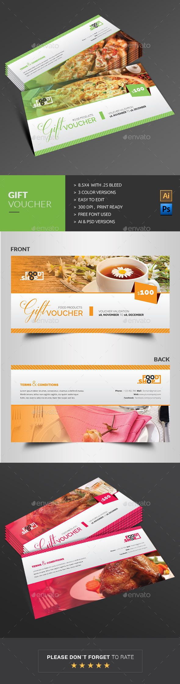Gift Voucher Template PSD, AI #design Download: http://graphicriver.net/item/gift-voucher/13784633?ref=ksioks