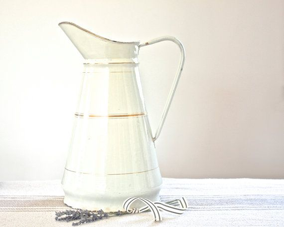 Large Enamel Pitcher  White & Gold Stripe by BeyondTheBrocante