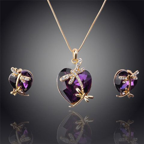 14K Gold Filled Austrian Crystal Pendant in Four Colors Necklace & Earrings Jewelry Set