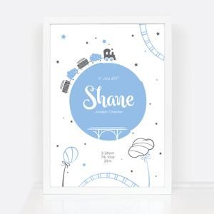 47 best personalised new baby prints images on pinterest kids personalised baby print new baby boy birth print trains new baby gift ideas negle Gallery