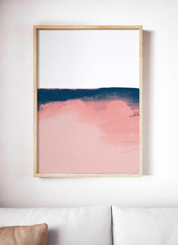 Printable Pink and Blue Print. Pink Watercolor Art…