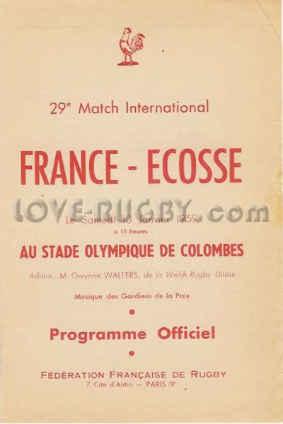 #rugby history today 10/01 in 1959 : France 9-0 Scotland - SRU lost to French in Paris 1959 rugby test   http://www.ticketsrugby.com/rugby-tickets/games/Scotland-France-rugby-tickets.php
