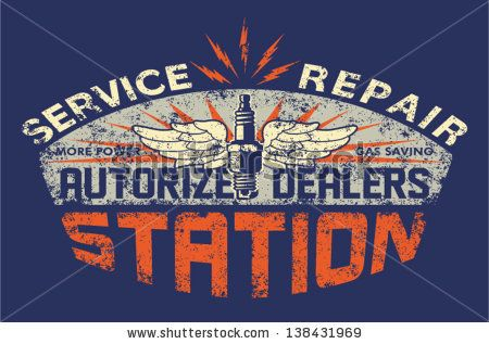 Service station vintage sign board - Vector artwork for boy t shirt - Custom colors - distressed effect in separate layer by ZiaMary, via Sh...