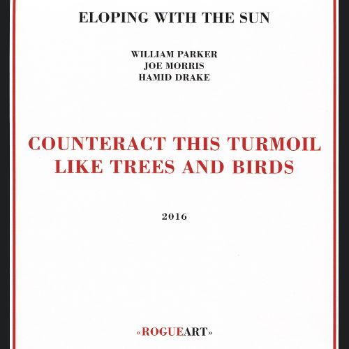 """ELOPING WITH THE SUN: """" counteract this turmoil like trees and birds ) personnel: William Parker: double bass, shakuhachi flute, sintir, n'goni kemlah n'goni, thumb piano Joe Morris: guitar, banjouke, banjo, double bass, fiddle, pocket trumpet, whistles Hamid Drake: drum set, frame drum, cymbals, gongs  http://web.roguart.com/shop/album/id/103"""