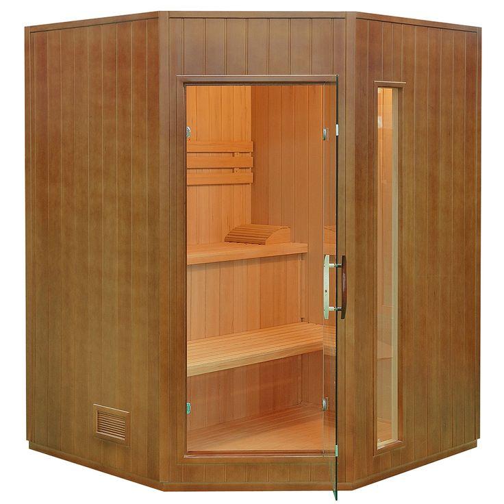Narożna, domowa sauna fińska dla max. 3 osób pozwoli na regenerację organizmu w każdej chwili.