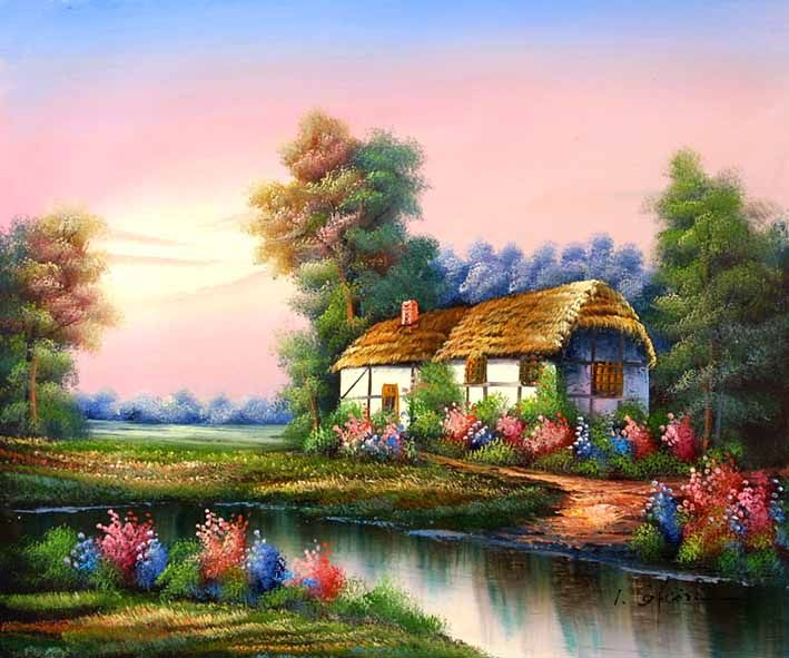 English Country Cottage By The Stream