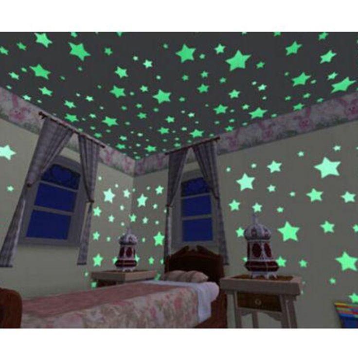 100 pz/borsa 3 CM Modo Meraviglioso Solido Stars Glow in The Dark Autoadesivo Della Parete Camera Da Letto Corridoio Soffitto Fluorescente del capretto Decorazioni per la Casa