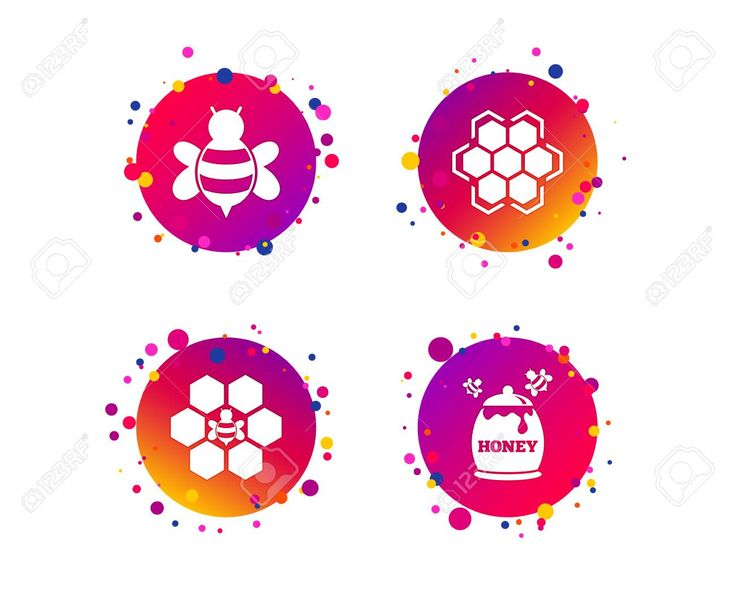 Honey icon cells with bees symbol sweet
