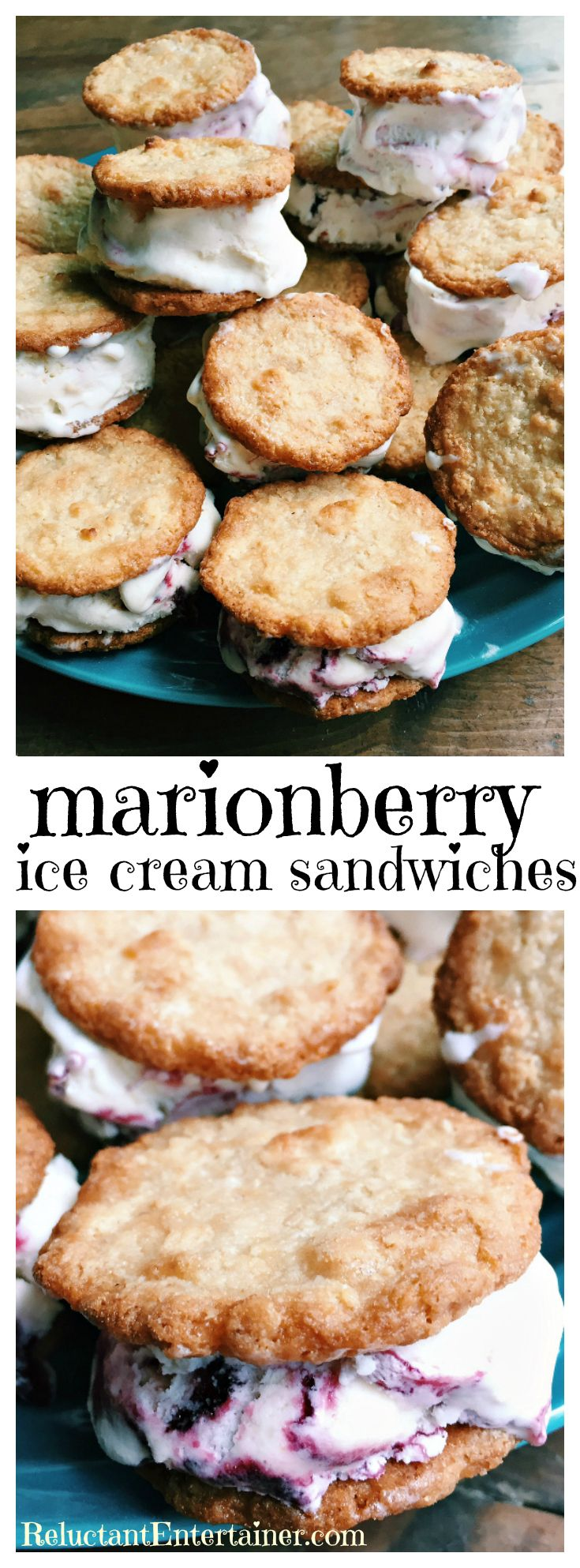 Marionberry Ice Cream Sandwiches - freeze and serve for drop-in summer guests | ReluctantEntertainer.com