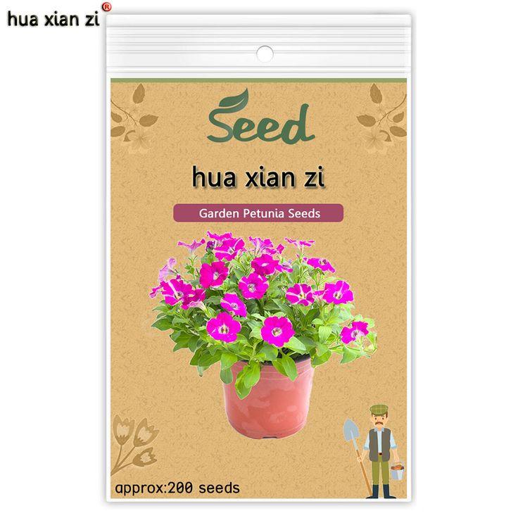 HUA XIAN ZI Garden Petunia Flowers Seeds Petunia Hybrida Very Beautiful Garden Plants Light Up Your Garden 200 seeds/bag
